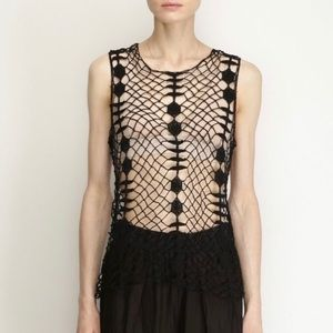 Raquel Allegra black crochet knit tank top